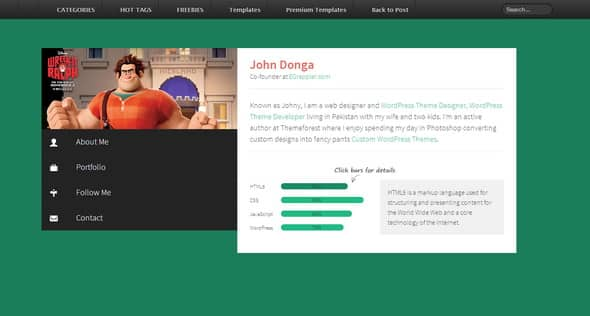Free Profile Templates Fair Tabbed Profile Widget Responsive