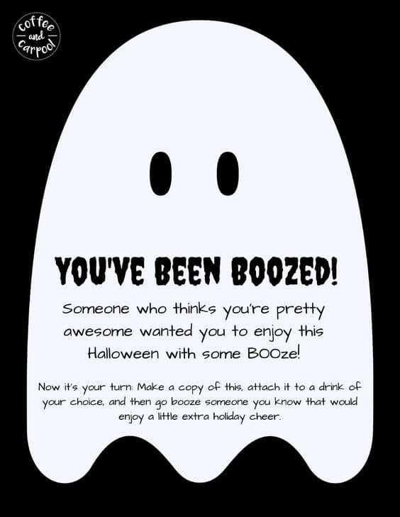 You\u0027ve Been Boozed Printable; Halloween Fun Tradition for Moms