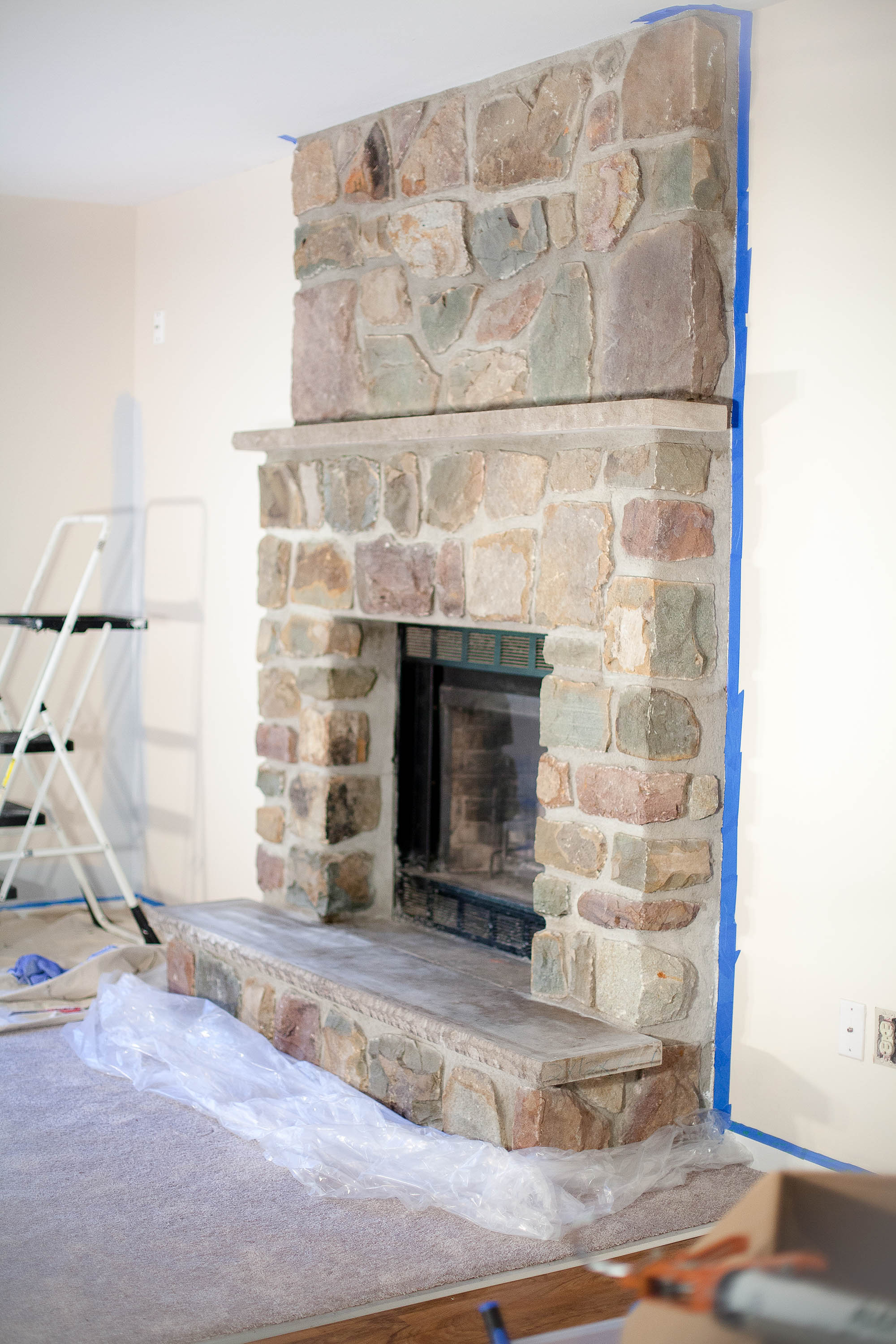 Whitewash Fireplace Before And After How To Whitewash A Stone Fireplace Coffee With Summer