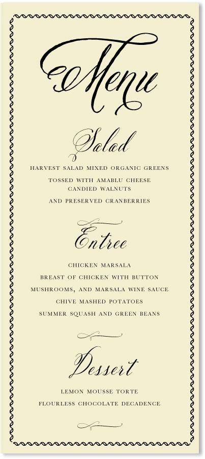 So Elegant \u2013 Ecru Wedding Menus  Custom Wedding Party Menu Cards