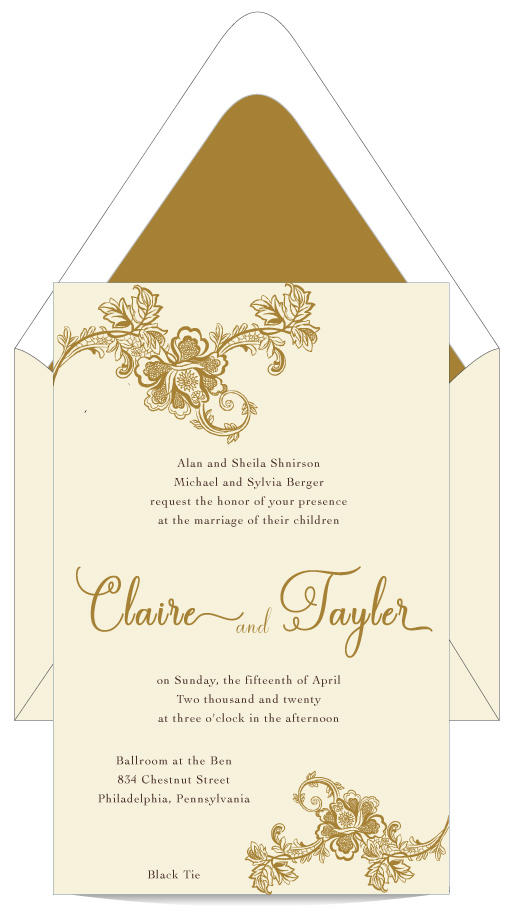 Elegant Gold Romance \u2013 Wedding Invitation \u2013 Custom Wedding
