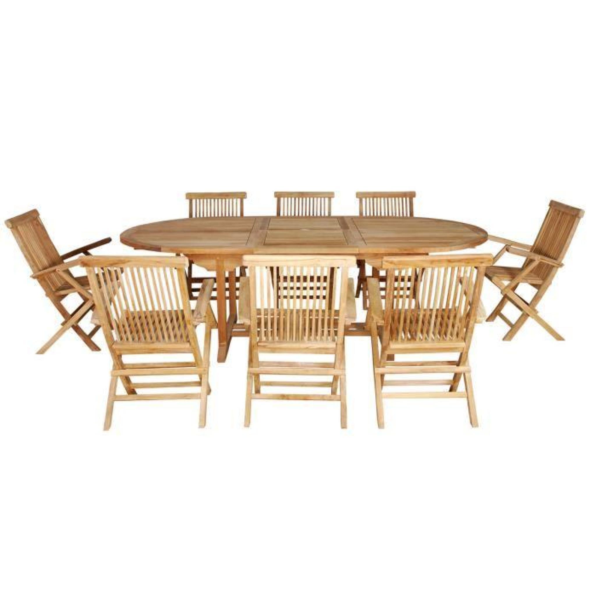 Salon Jardin Teck Brut | Table De Jardin Ovale Teck 10 Places 8 ...
