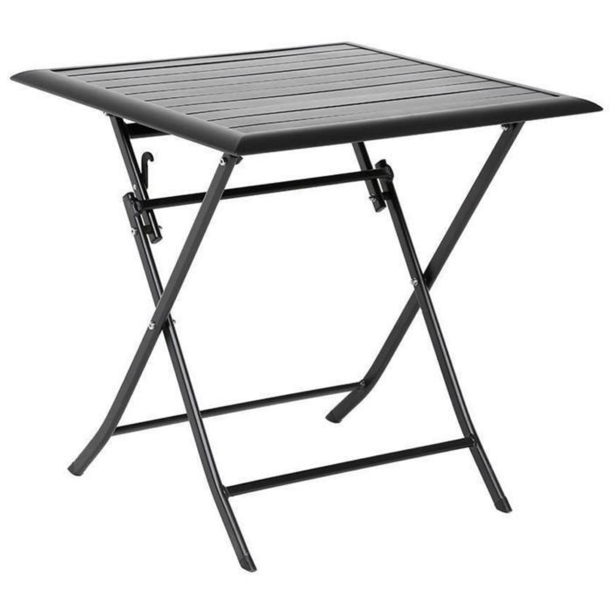 Table Aluminium Pliante Table Pliante Carrée En Aluminium Coloris Noir Dim L71cm X P71cm X H71cm