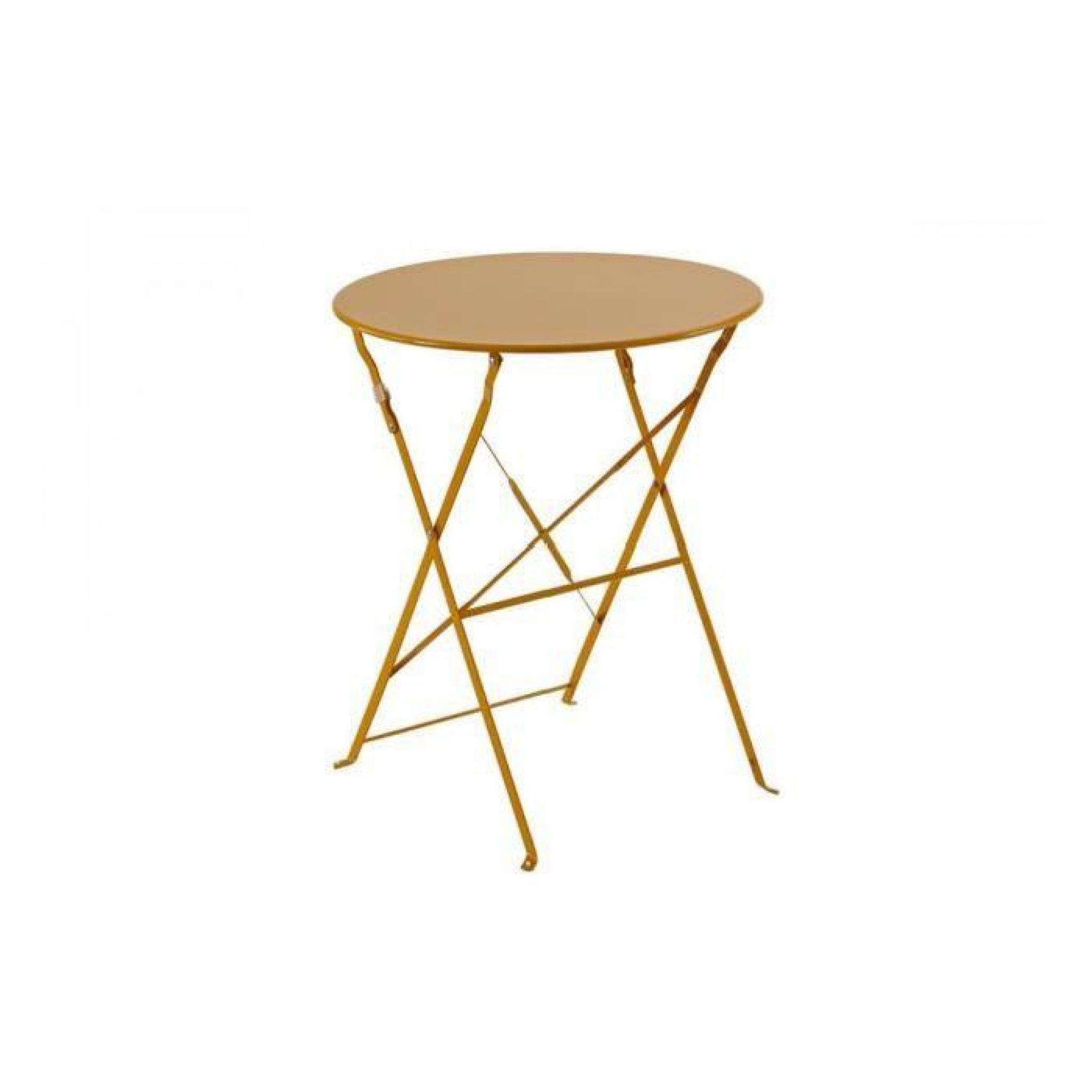 Table Ronde De Jardin Pas Cher Table Ronde 60cm Pliante Camargue Hesperide Orange Achat