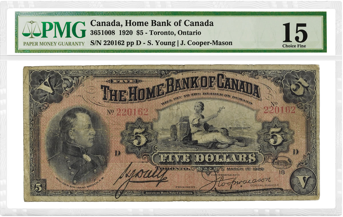 Home Bank Of Canada Pmg Certifies 1920 Home Of Bank Of Canada 5 Note Coin News