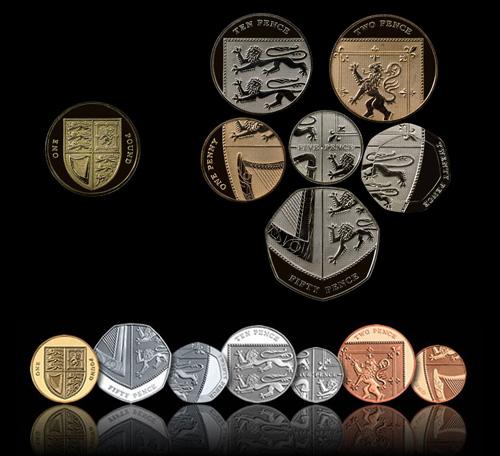 United Kingdom modern decimalization redesign of 2014 resembles a shield.