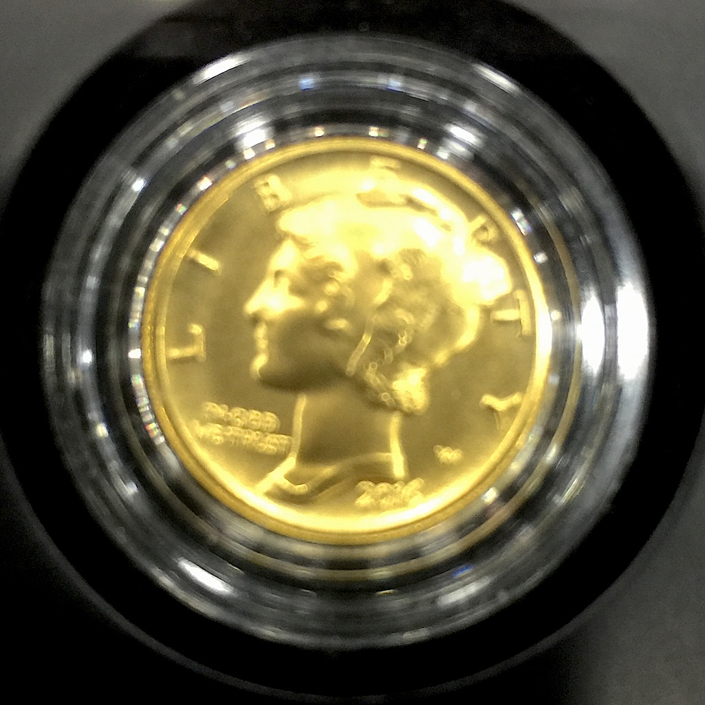 Obverse of the soon to be released Mercury Dime 2016 Centennial Gold Coin