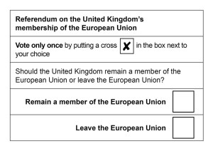 """Sample of the ballot that will be used for the EU Referendum """"Brexit"""" vote"""