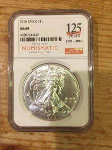 2016 American Silver Eagle graded MS-69 by NGC with 125th Anniversary Label