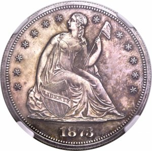 1873 Seated Liberty Dollar - NGC PR62 - because there are no pictures of a real 1873-S dollar (Heritage Auctions)