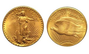 One of the ten 1933 Saint-Gaudens $20 Double Eagle gold coins from the Longbord Hoard confiscated by the U.S. Mint