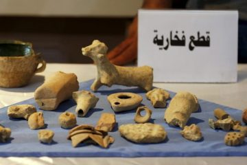 Recovered artifacts are seen at the National Museum of Iraq in Baghdad July 15, 2015. The U.S. handed back to Iraq on Wednesday antiquities it said it had seized in a raid on Islamic State fighters in Syria, saying the haul was proof the militants were funding their war by smuggling ancient treasures. The Iraqi relics were captured by U.S. special forces in an operation in May against an Islamic State commander known as Abu Sayyaf. They included ancient cylindrical stamps, pottery, metallic bracelets and other jewelry, and glass shards from what appeared to be a coloured vase.