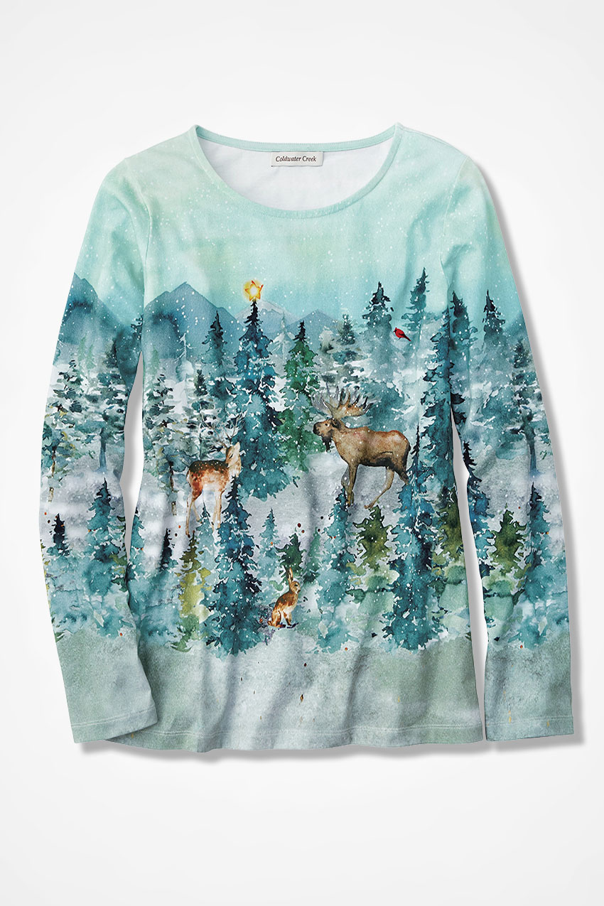 Winter Tee Winter Forest Holiday Scene Tee