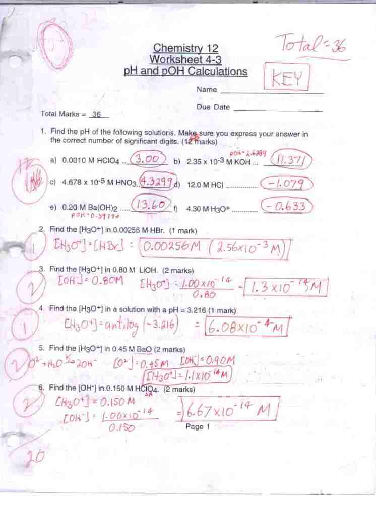 Ph Calculations Worksheet 28 templates Ph And Poh Calculations – Ph and Poh Worksheet