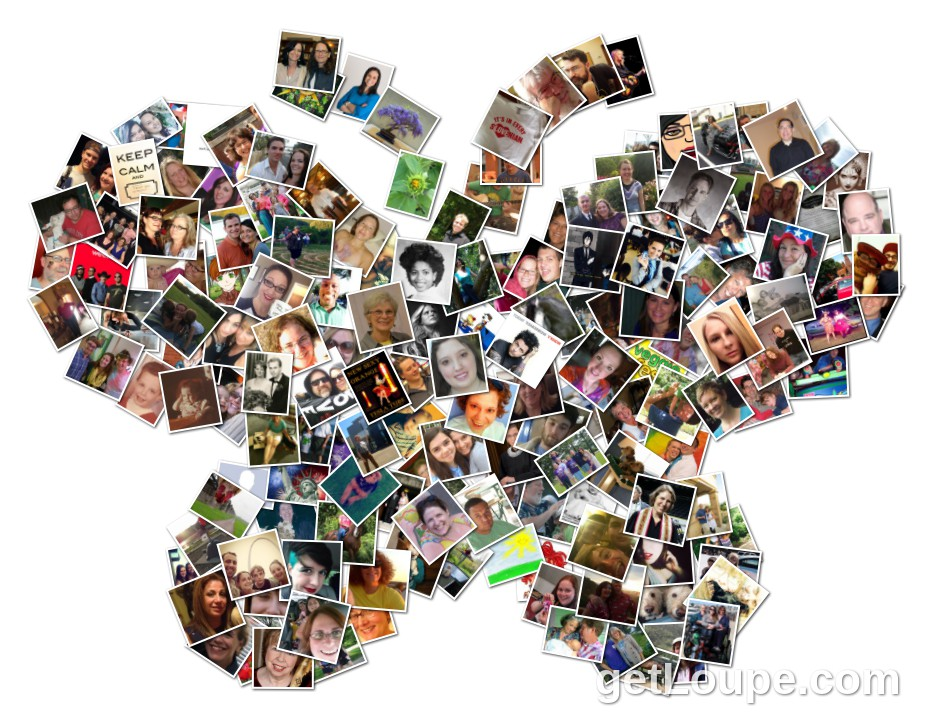 Facebook Friends Butterfly Shape Loupe Collage Loupe