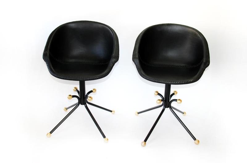 Custom Black Leather Side Chairs