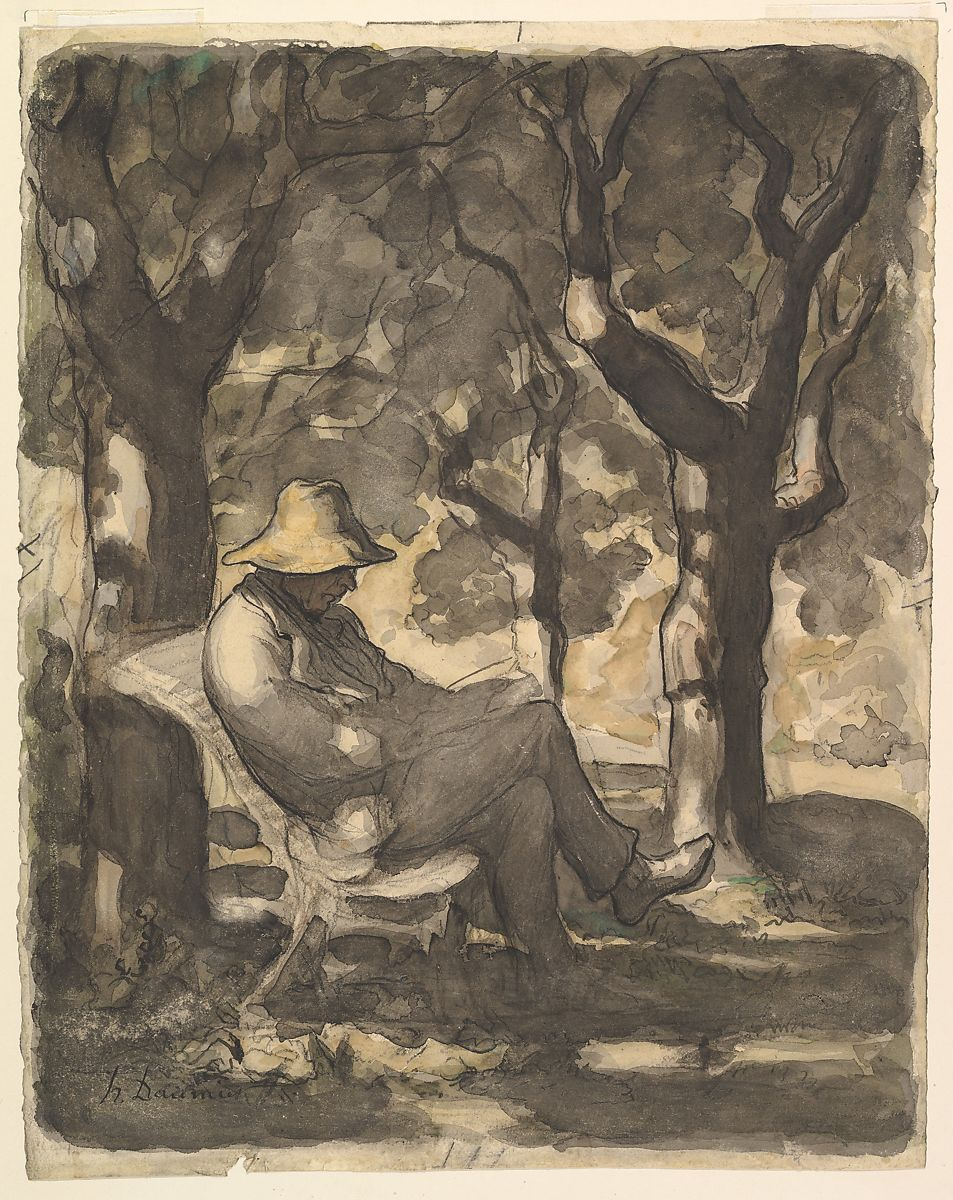 Pittore Francese Maurice Honoré Daumier A Man Reading In A Garden Recto Preliminary
