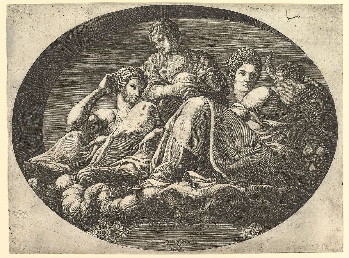 Francesco&#39 Giorgio Ghisi Ceres Seated On Clouds With Two Goddesses And Two