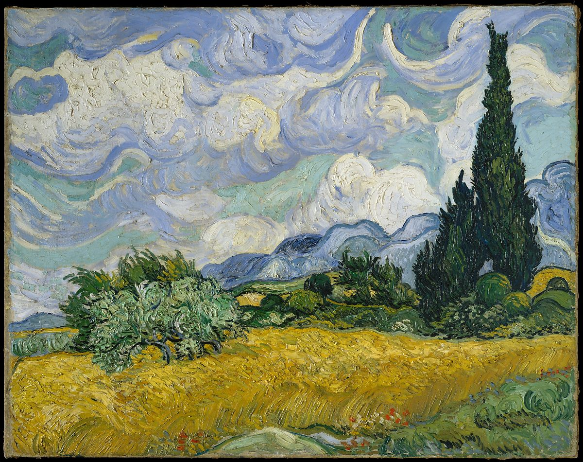 Vang Gogh Cuadros Vincent Van Gogh Wheat Field With Cypresses The Met