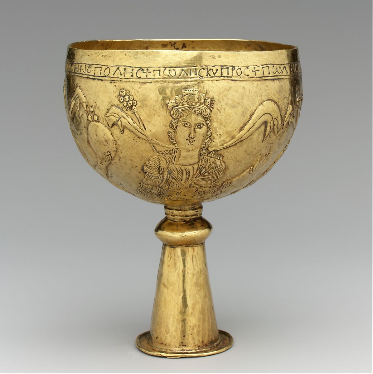 Vase Vintage Gold Goblet With Personifications Of Cyprus, Rome