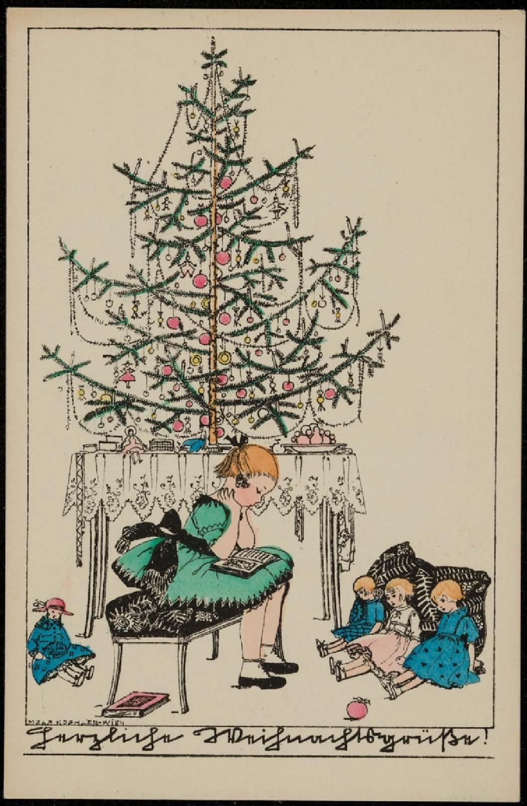 Weihnachtsgruesse Text Sms Girl Reading Under The Christmas Tree Works Museum Of