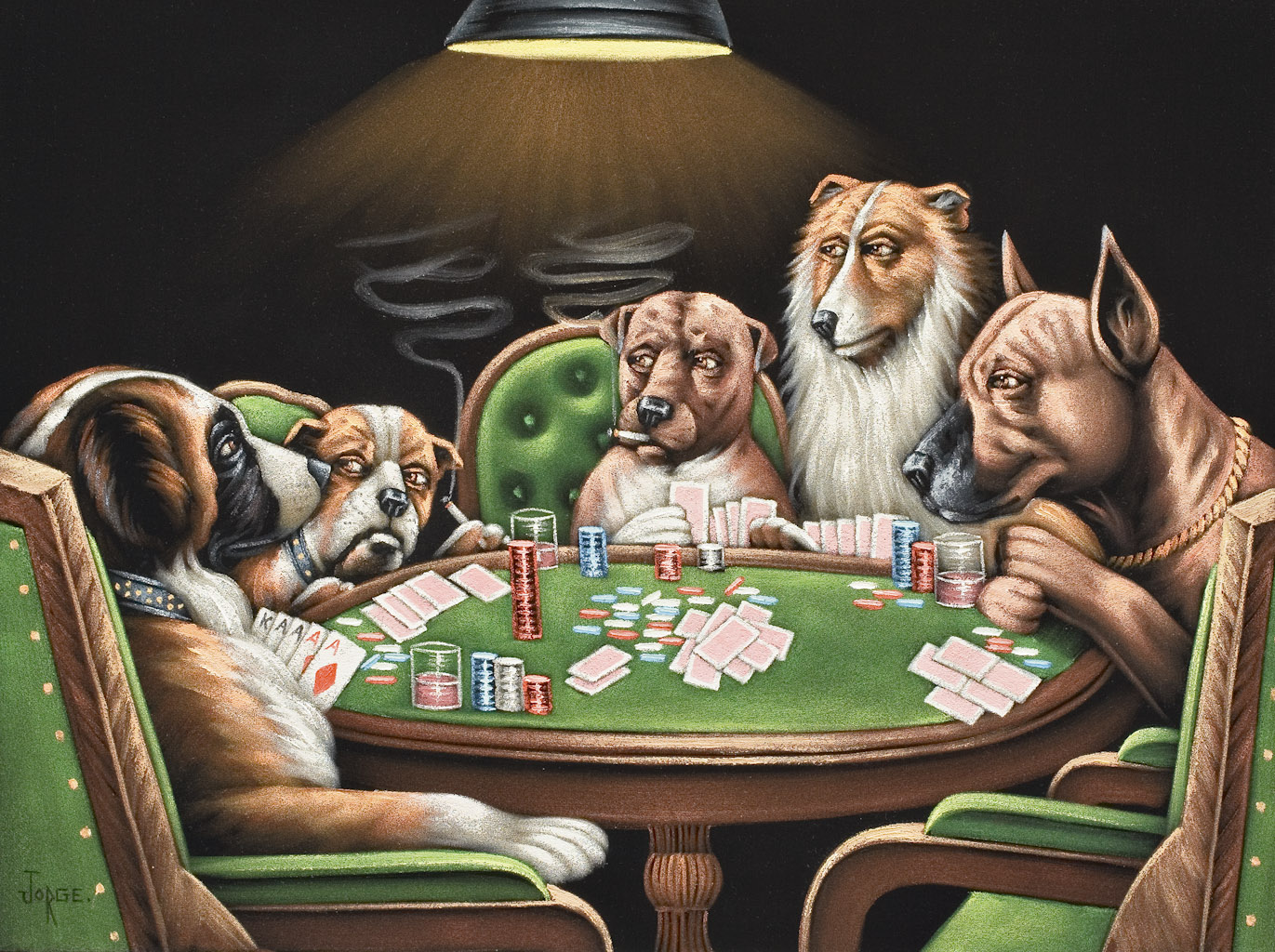 Bad Deko Kita Dogs Playing Cards Awesome Lot After C M Coolidge Dogs