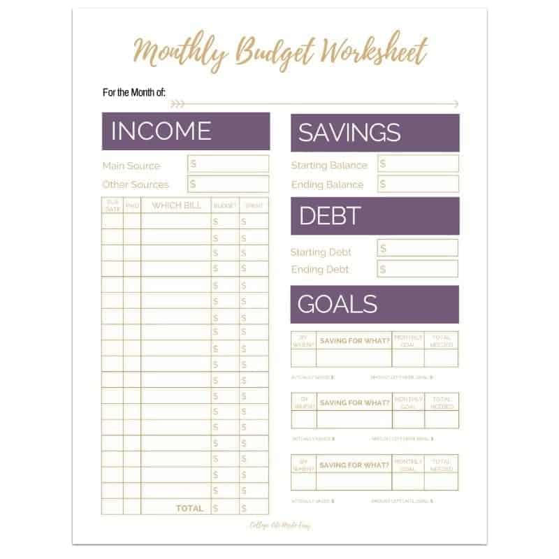 Editable Monthly Budget Worksheets (Set of 3) - College Life Made Easy