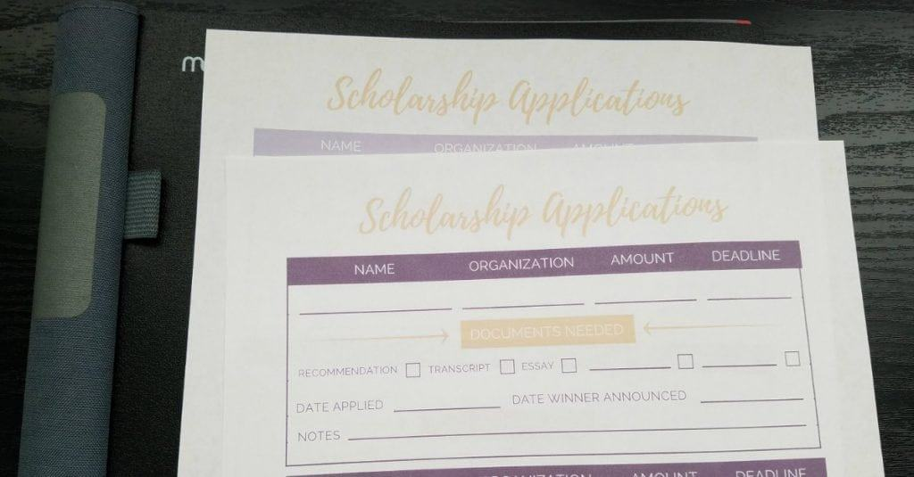 Free Printable Scholarship Application Tracker Worksheets