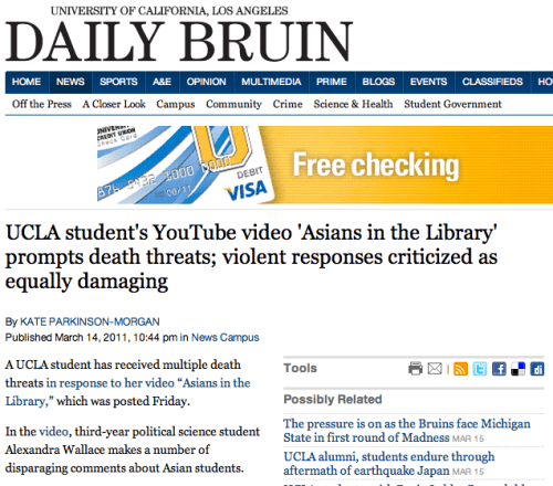 UCLA Daily Bruin reports on reaction to student's anti-Asian YouTube rant.