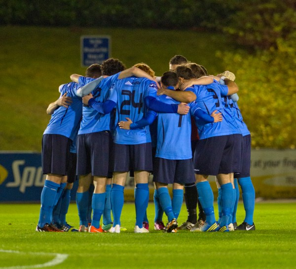 UCD AFC Team huddle prior to their final game of the 2014 SSE Airtricity Game vs Drogheda Utd