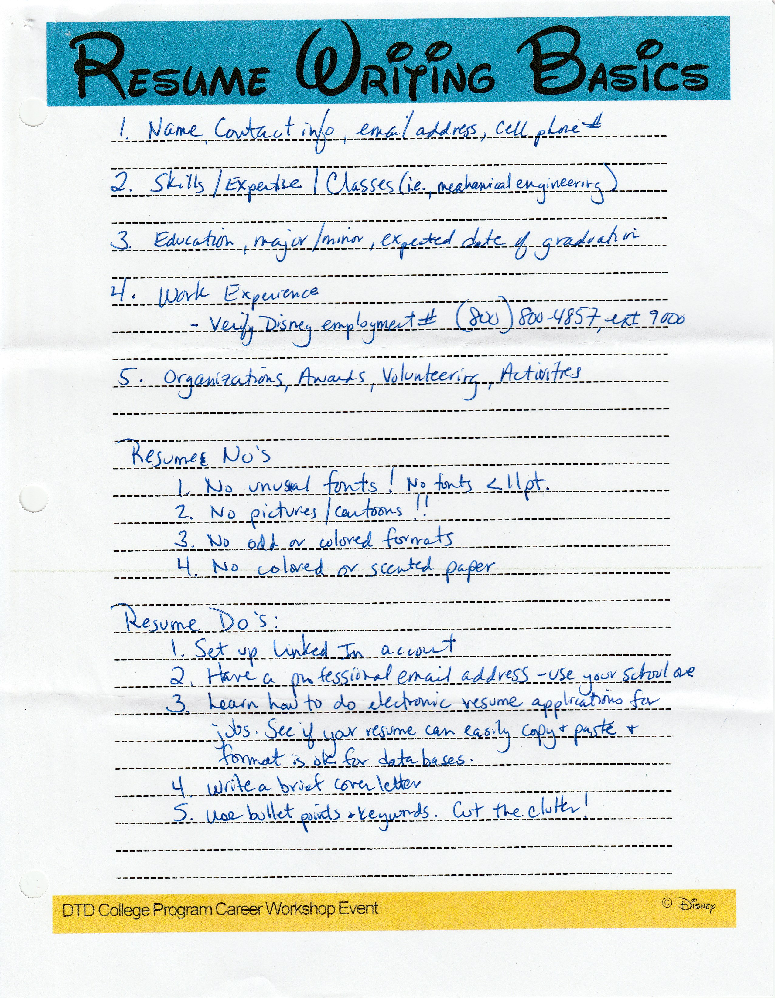 resume writing and advice
