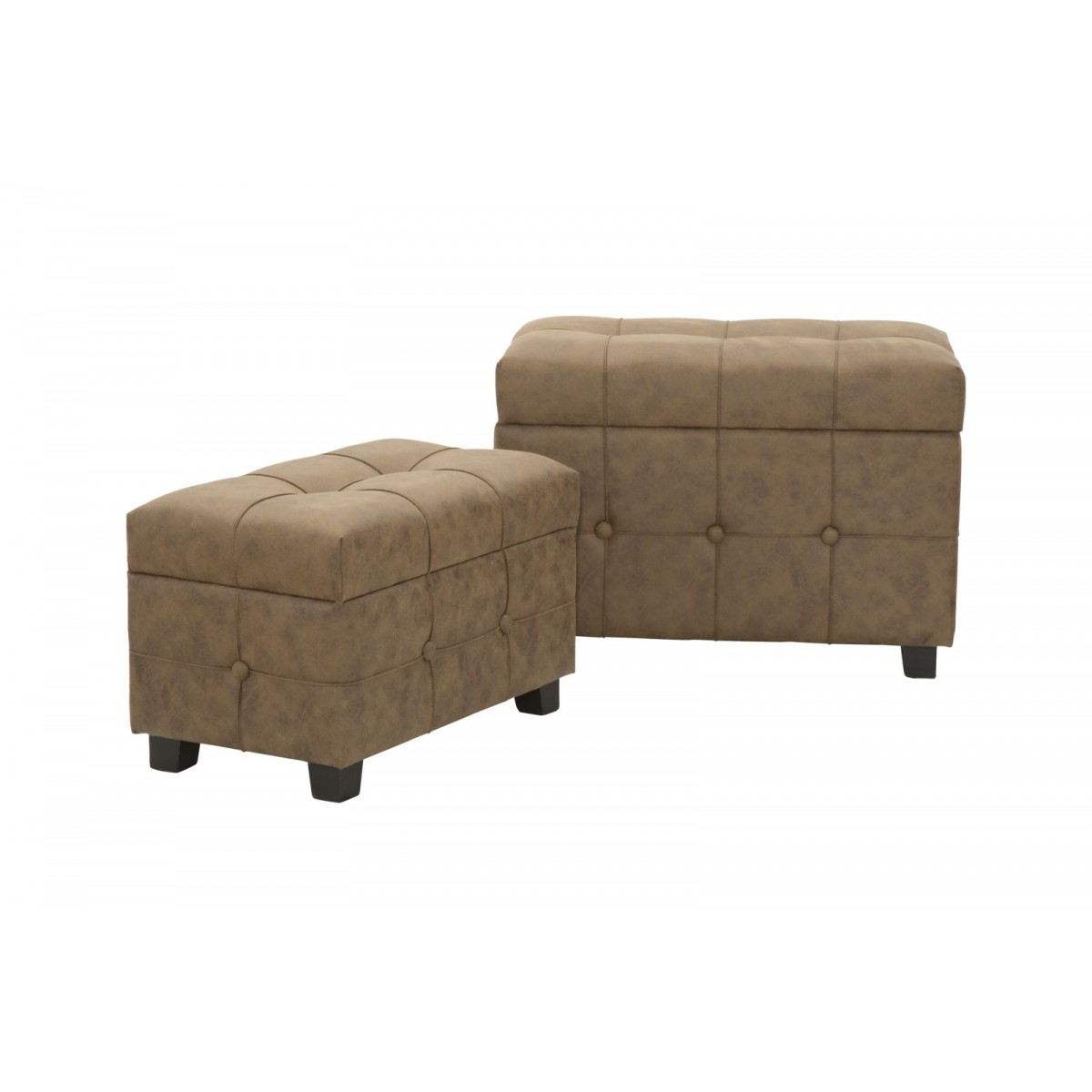Panca Contenitore Ecopelle Set Due Panche Pouf Contenitore Stile Vintage In Ecopelle
