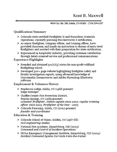 Colorado Firecamp, Fire Instructor I - Fire Training Officer Sample Resume