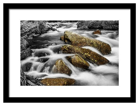 Cascading Water And Rocky Mountain Rocks Framed Print