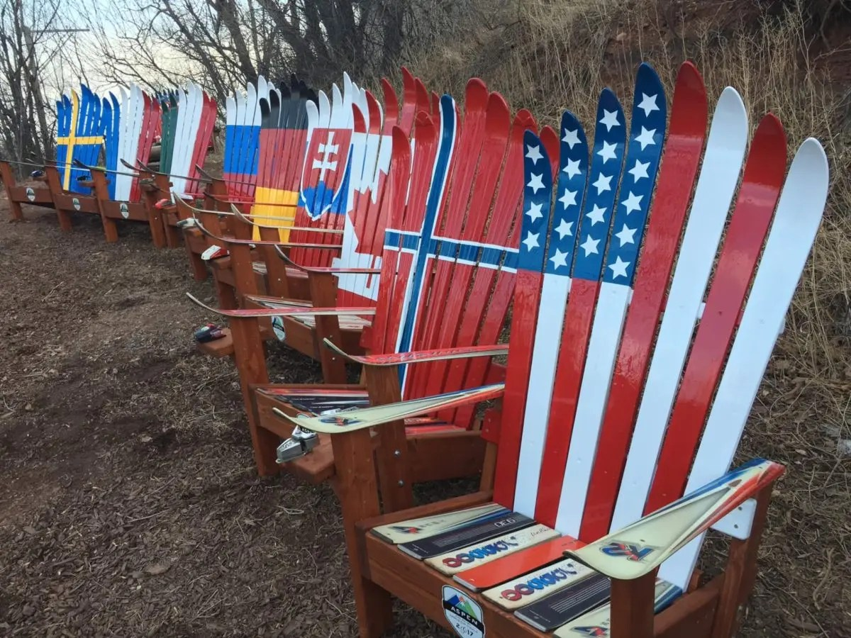 Usa Flag Ski Chair Repurposed Upcycled Hand Painted