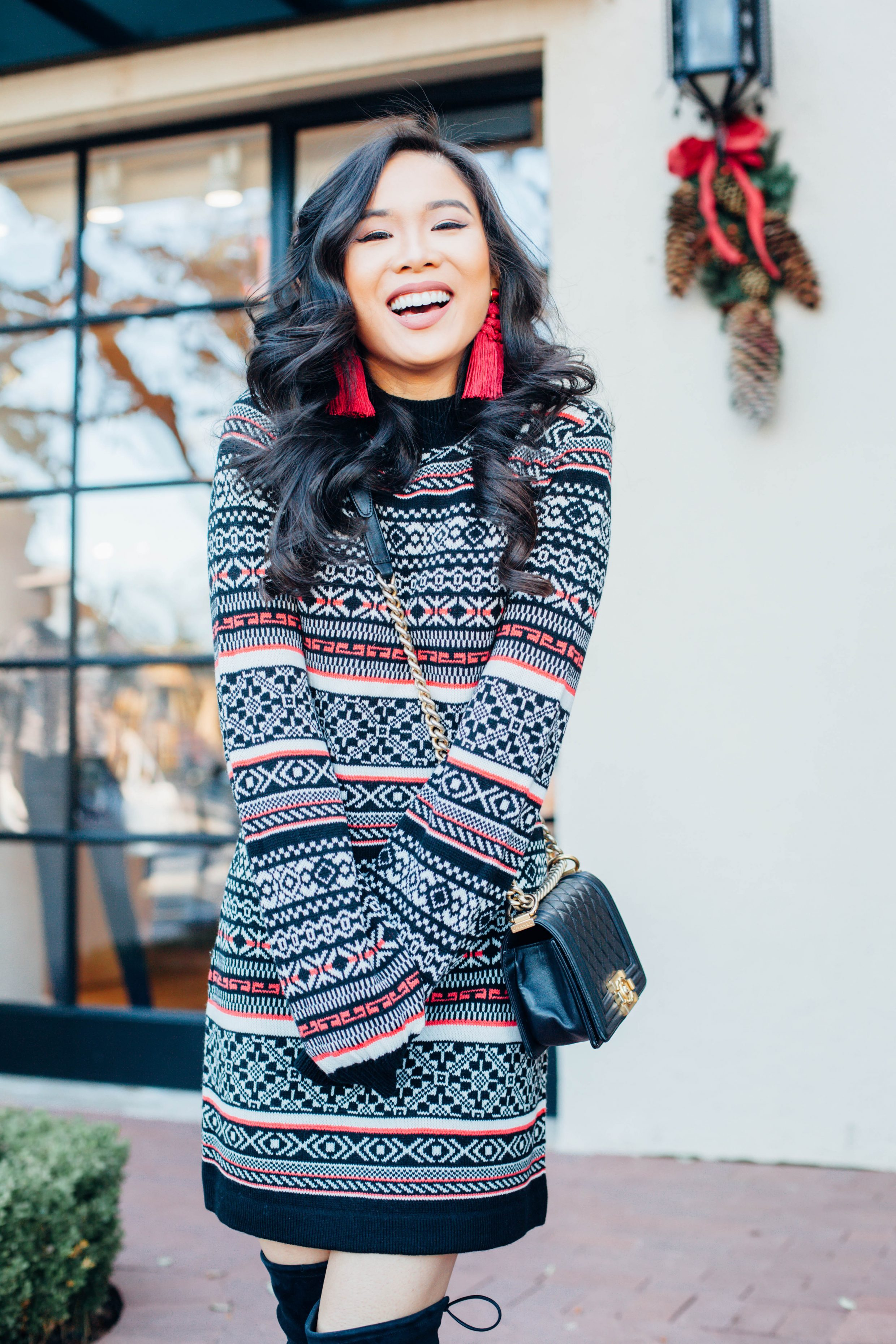 Lipstick Color Is Red Cold Kickoff Fair Isle Sweater Dress Color Chic