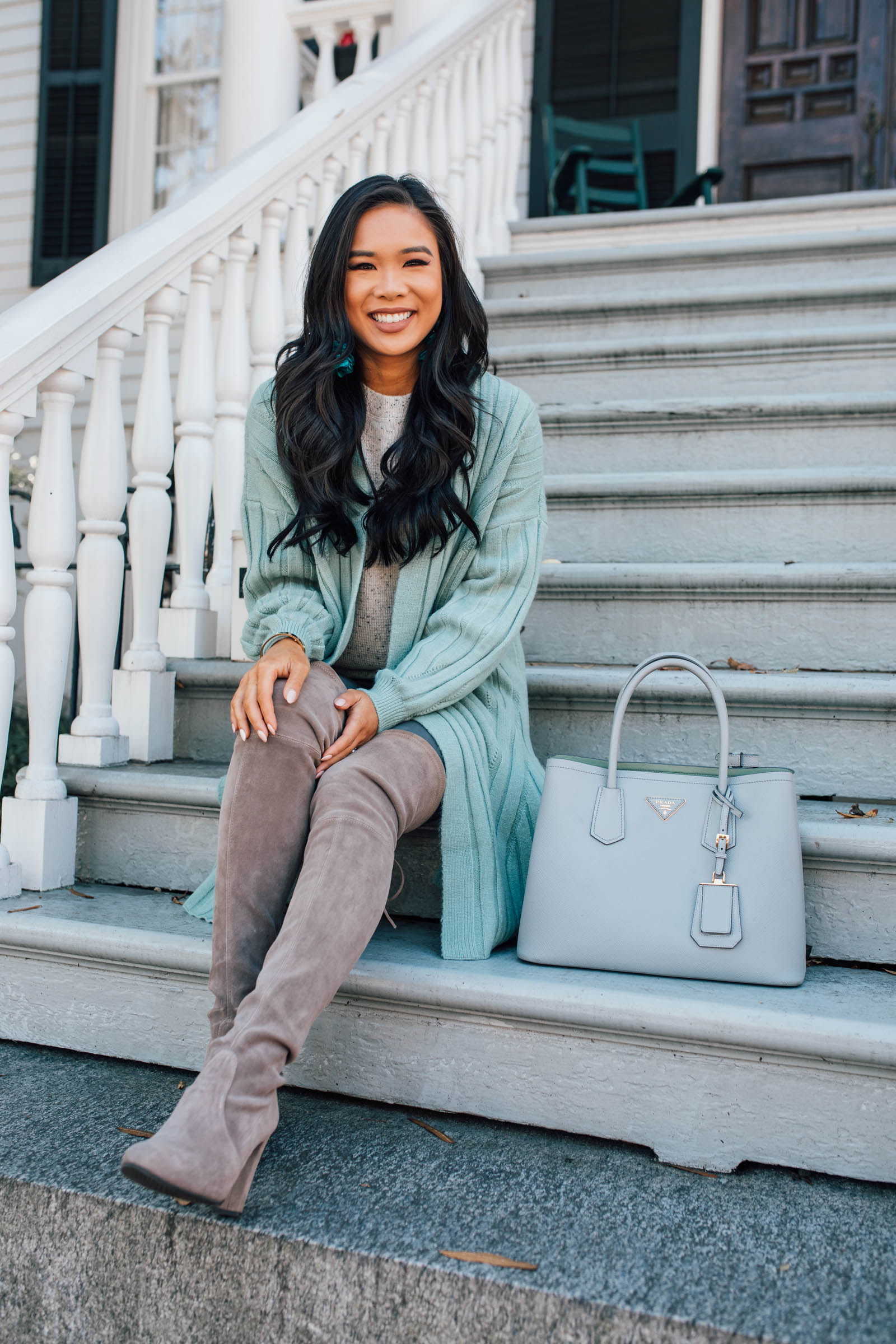 Lifestyle Blog Beauty How To Style A Mint Green Cardigan For Fall And Winter