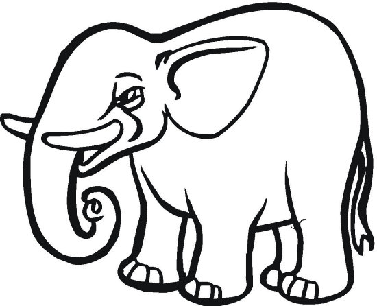 Cut Out Elephant Coloring Page - Color Book - elephant cut out template