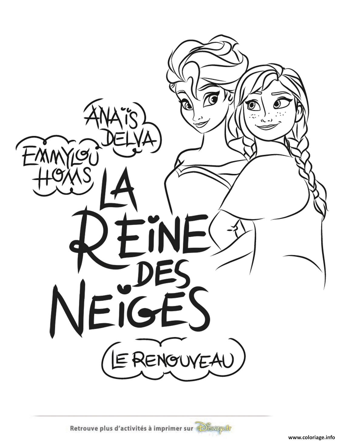 Anna Elsa Reine Neiges Coloriage Officiel De La Reine Des Neiges