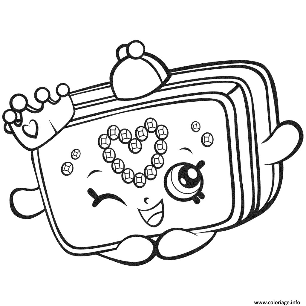 Dessin Gratuit Coloriage Saison 7 Shopkins Princess Purse Jecolorie