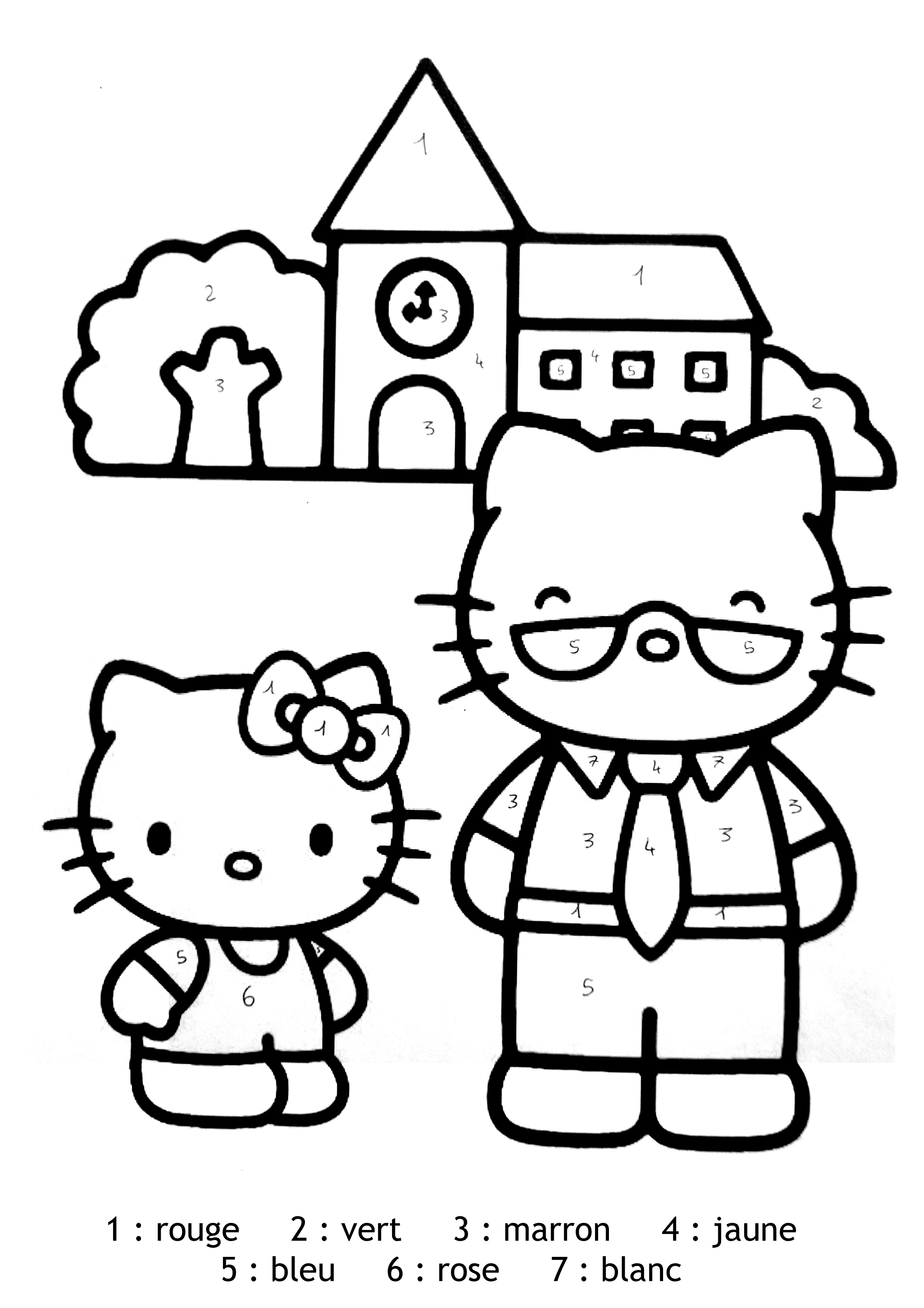Dessin Simple A Realiser Magique Hello Kitty Facile Coloriage Magique