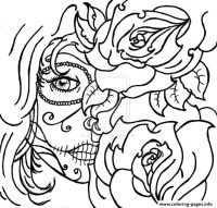Sugar Skull Woamn Flowers Cool Coloring Pages Printable