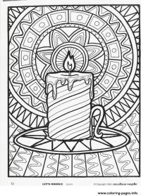Christmas Adults Candle Coloring Pages Printable