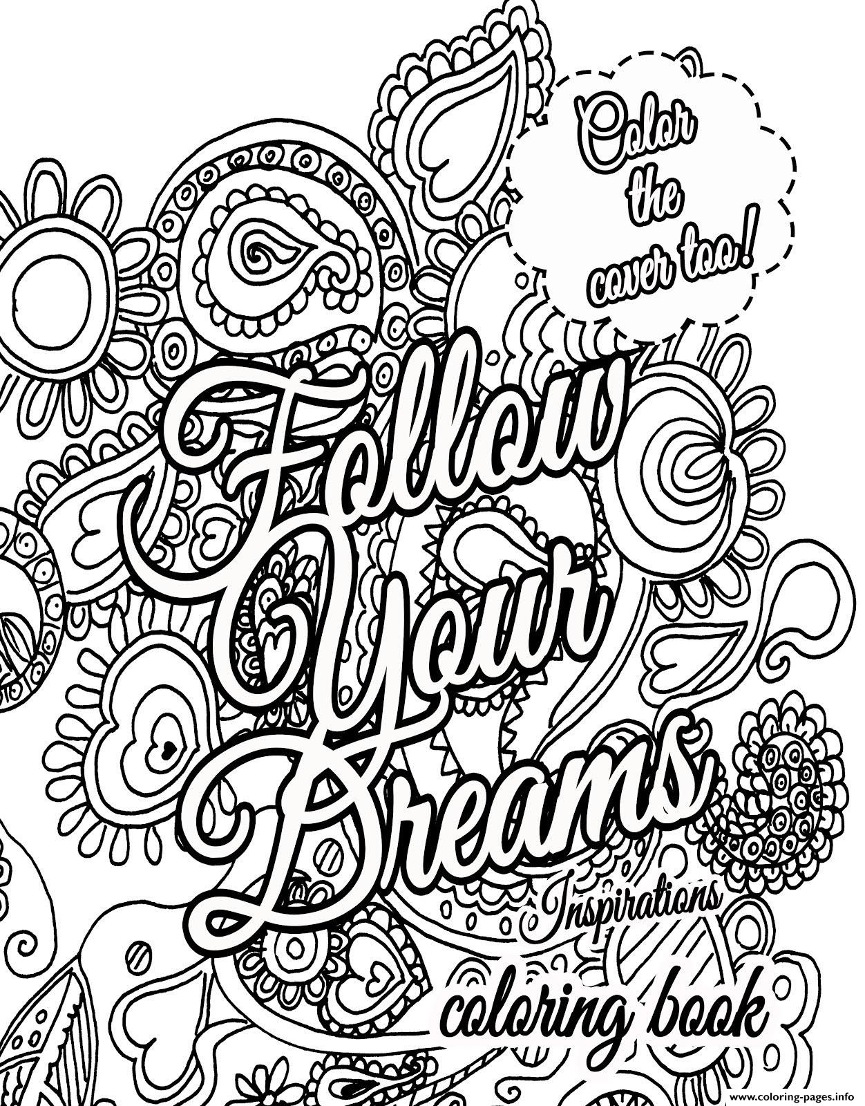 Advanced quote about dream for adults coloring pages