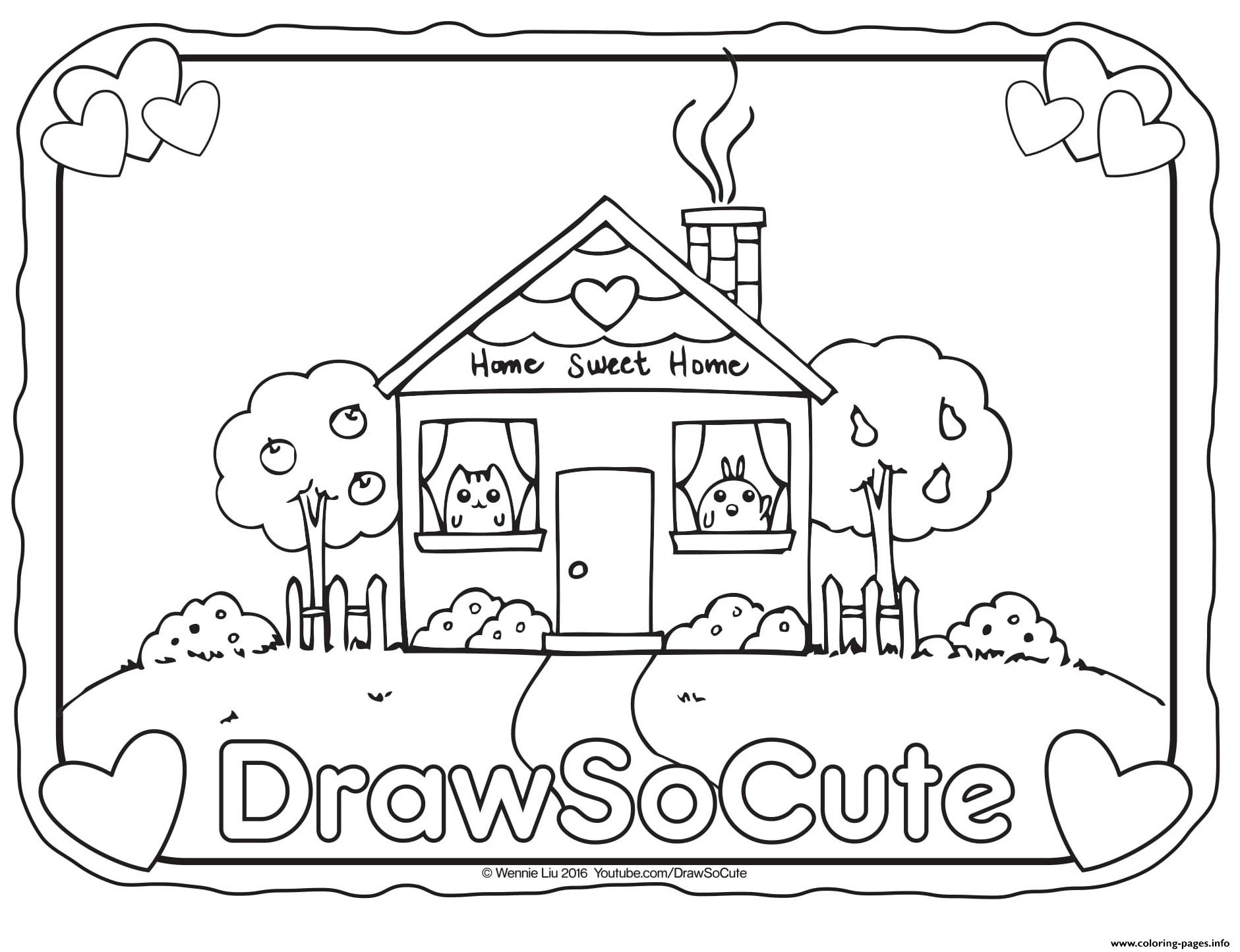 House draw so cute coloring pages printable