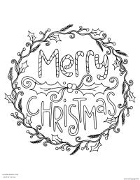 Merry Christmas Wreath Adult Coloring Pages Printable