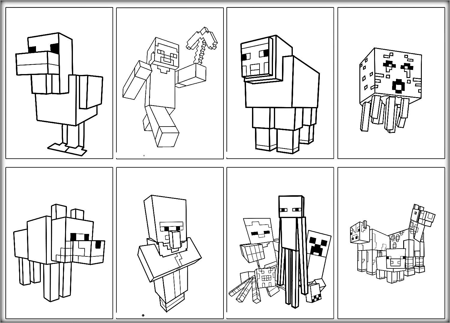 Minecraft Skeleton With Bow And Arrow Coloring Page