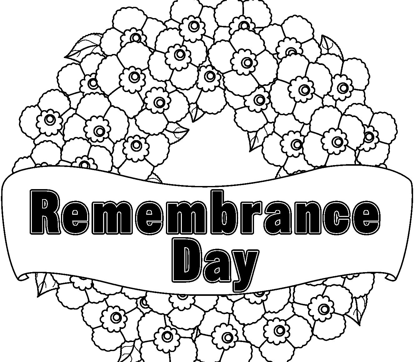 Wreath for remembrance day coloring pages coloring pages for kids
