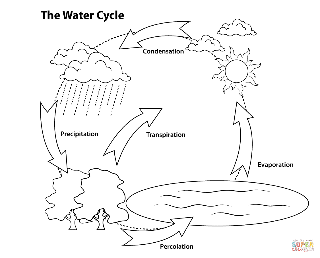 simple diagram of a water cycle