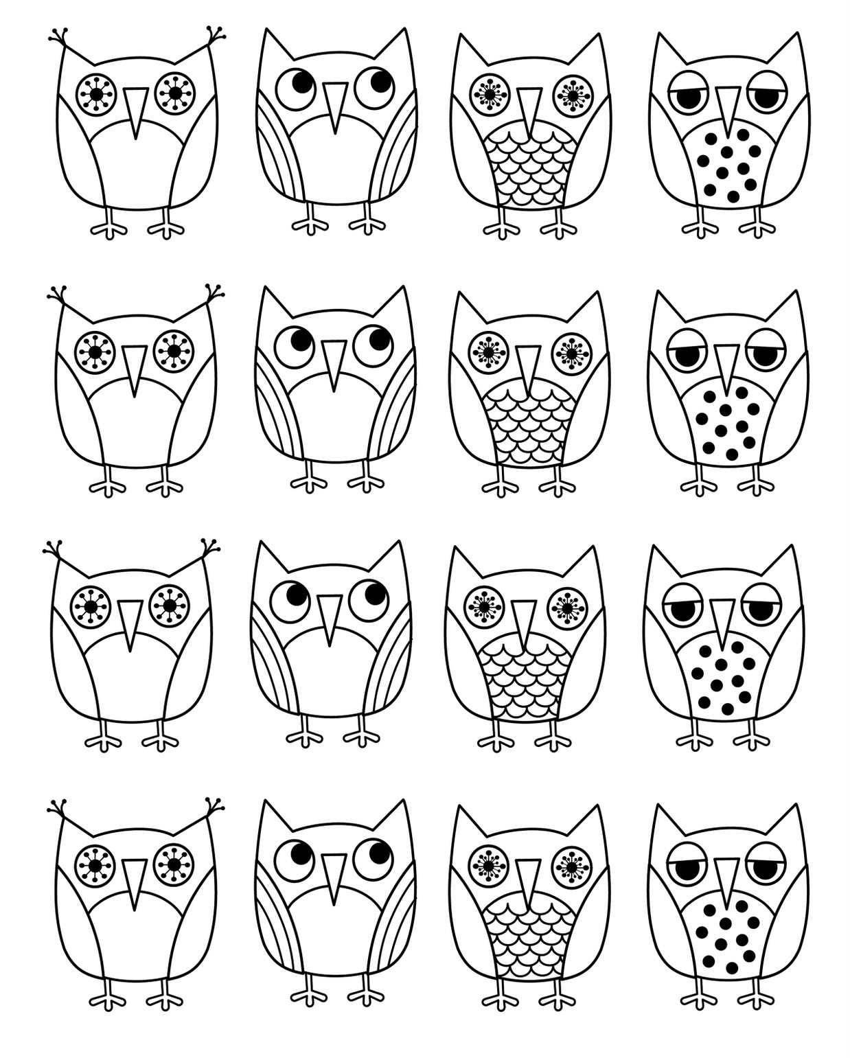 Download owl coloring pages 1 print